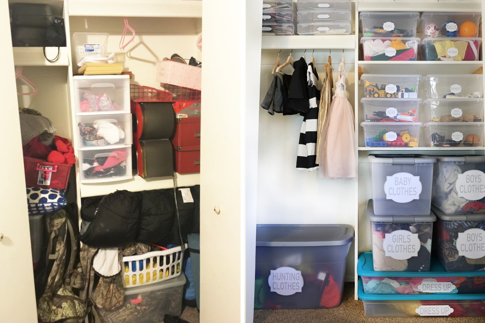Closet organizing before and afters // organized kids closet // transformation // playroom organizing // storage solutions // Office supplies