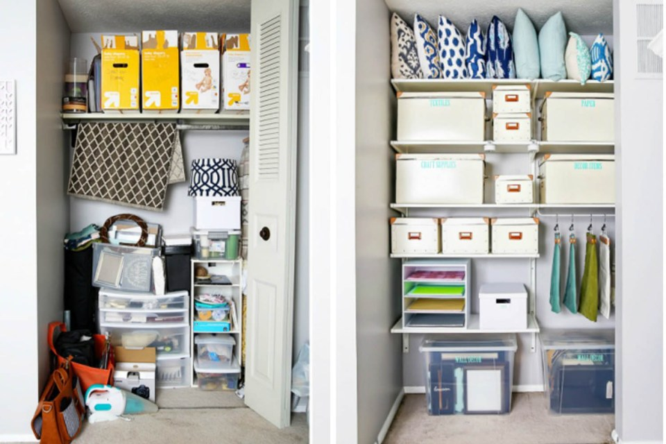 Closet organizing before and afters // organized office // transformation // craft closet // Office supplies
