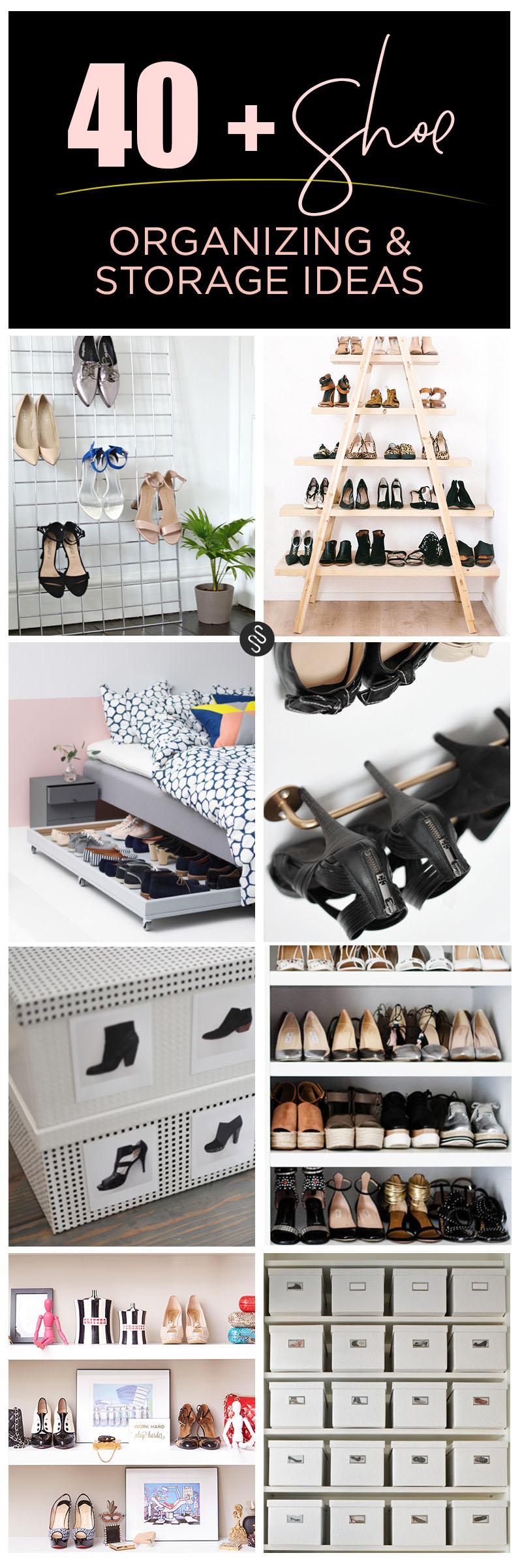 Shoe organizing and storage ideas // organized home // storage solutions // closet organizing // www.SimplySpaced.com