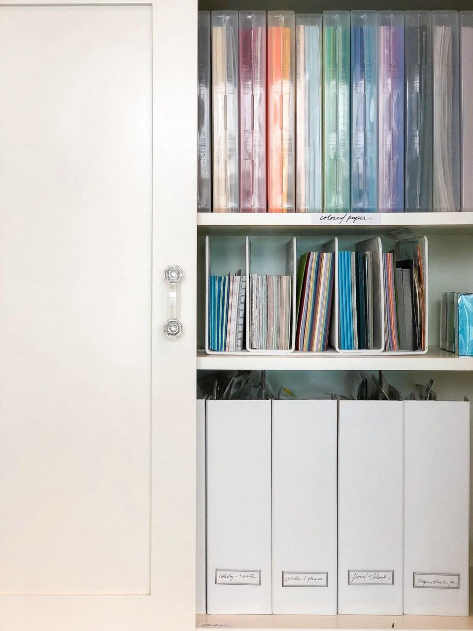 Craft Room Ideas: 14 Organizing Tips for Crafters // Art Supply organizer, Craft room storage, Craft room organization, Craft closet, Scrapbooking Organizing