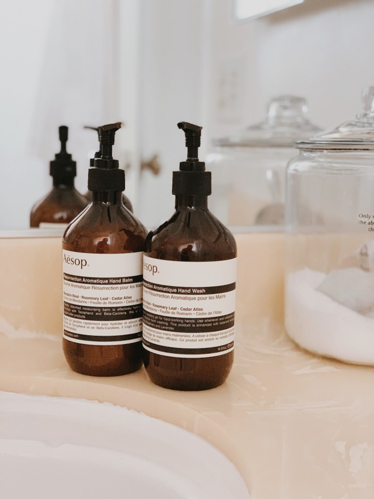 Streamline your beauty products to update your guest bathroom.