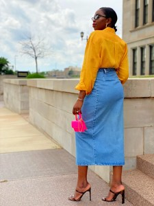 how to make your thrifted clothes look modern? Pair them with a modern item or upcycle them.