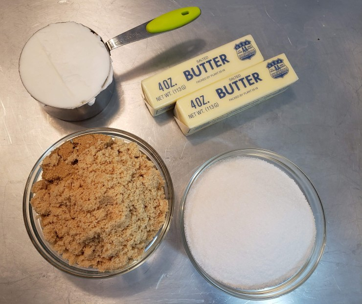 butter, shortening and sugars measured out -Amazing Chocolate Chip Cookies