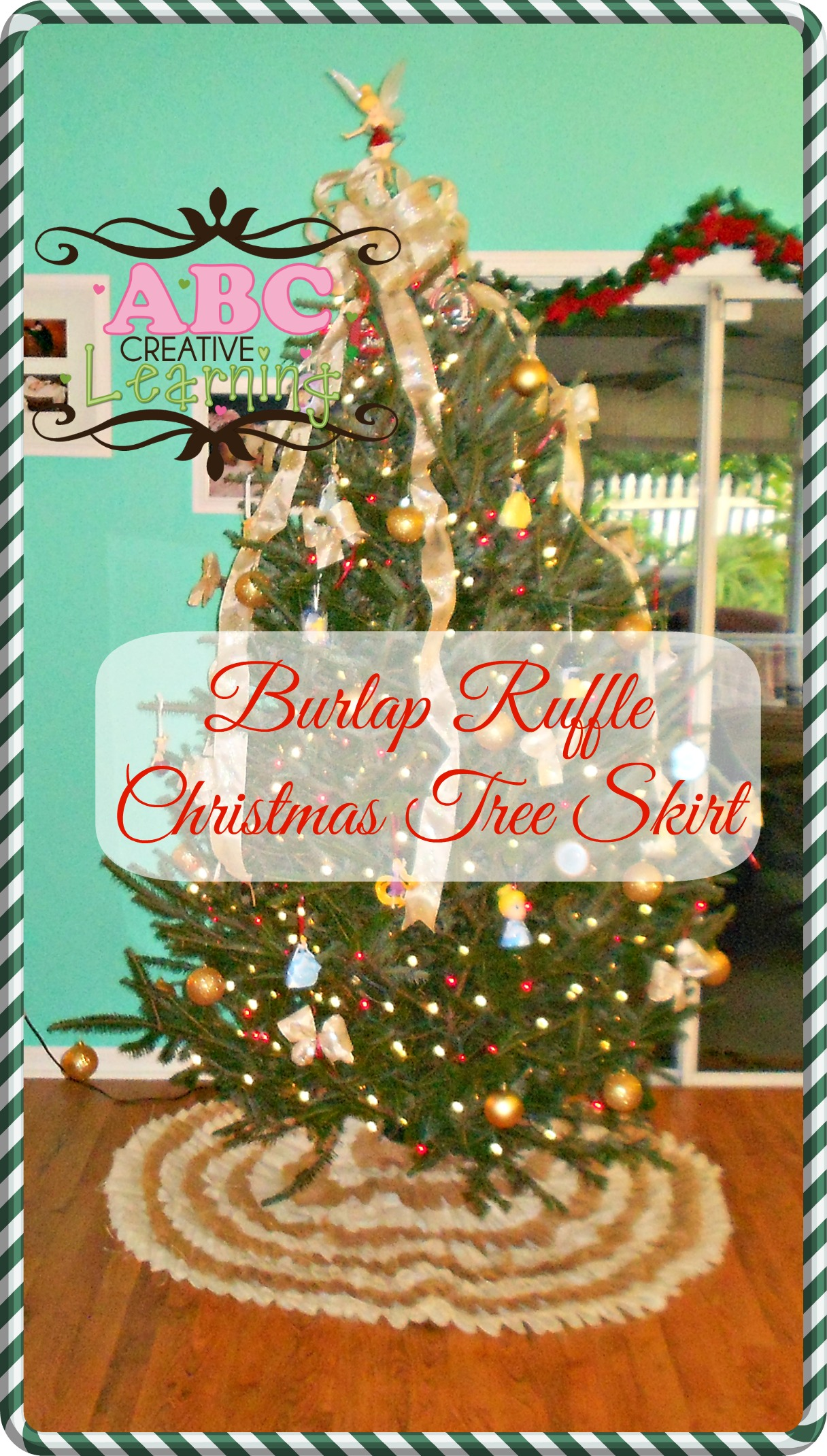 No Sew Burlap Ruffle Christmas Tree Skirt