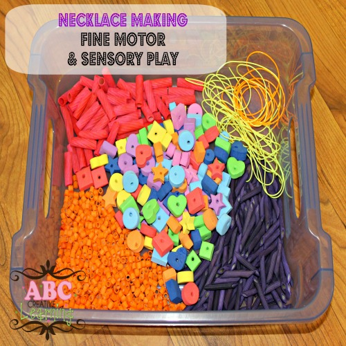 Fine Motor and Sensory Play Necklace Making
