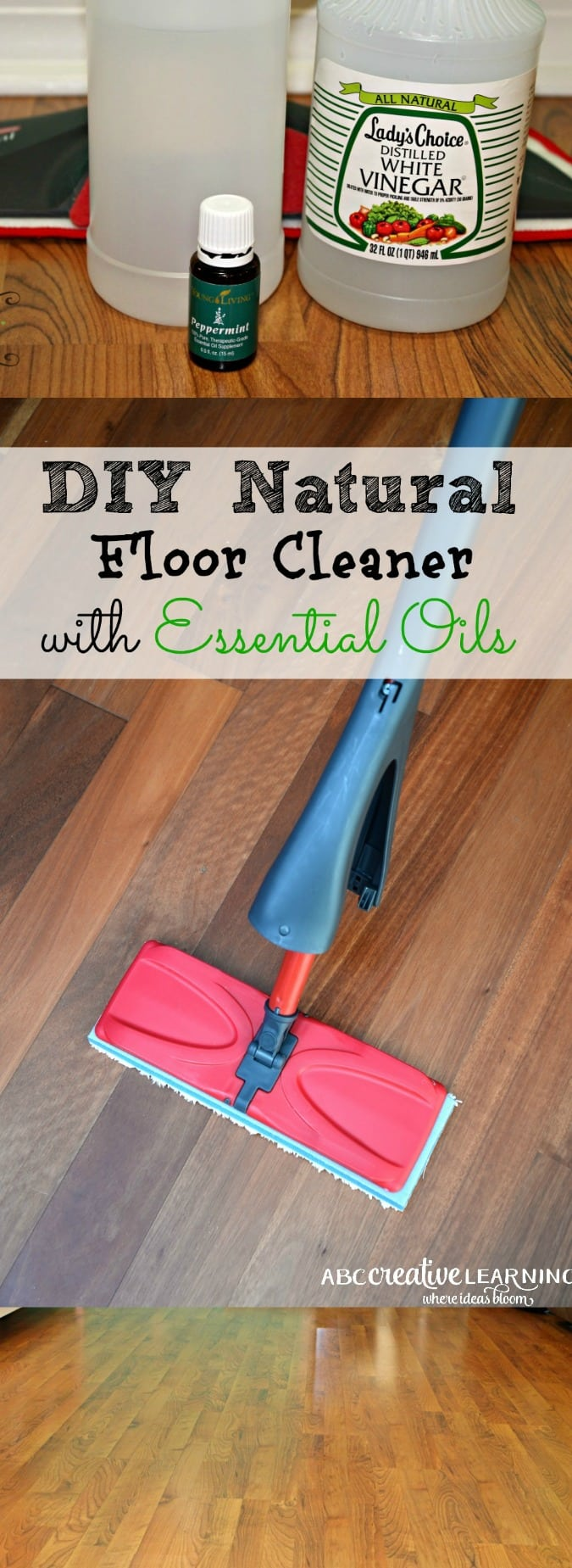 Easy DIY Natural Floor Cleaner for laminate floors with Essential Oils - simplytodaylife.com