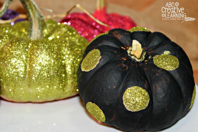Black Pumpkin with Gold Polka Dots