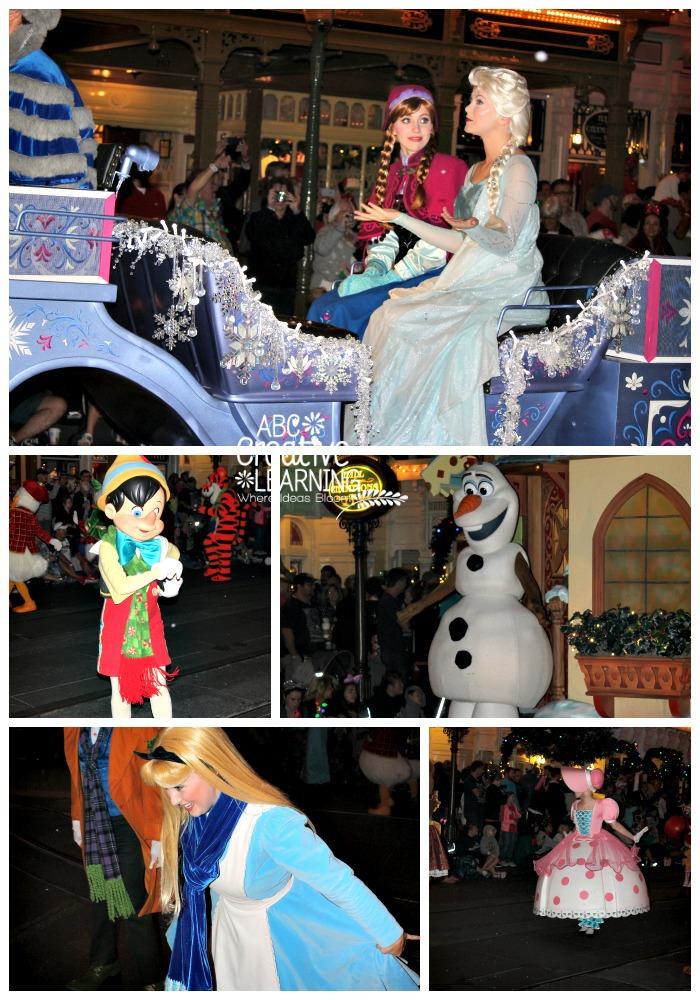 Mickey's Very Merry Christmas Parade Anna, Elsa, Pinnochio, Olaf, Alice, Bo Peep