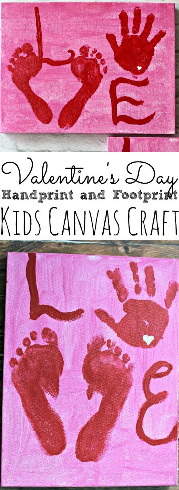 Valentine's Day Kids Handprint and Footprint Craft