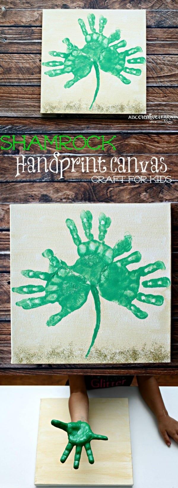 Shamrock Handprint Canvas Craft for Kids