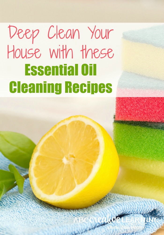Deep Clean Your House with these Essential Oil Cleaning Recipes to keep chemicals out of your home! DIY recipes are so easy to make with everyday items and some of my favorite essential oils. - abccreativelearning.com