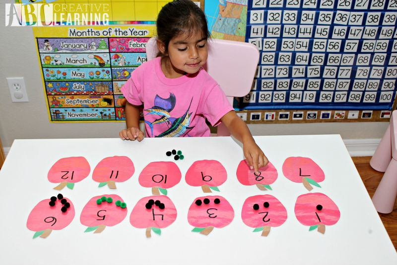 Back to School Counting Apples Fine Motor Skills