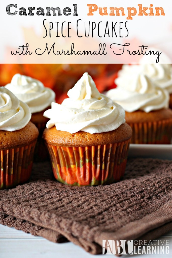 Caramel Pumpkin Spice Cupcakes with Marshmallow Frosting