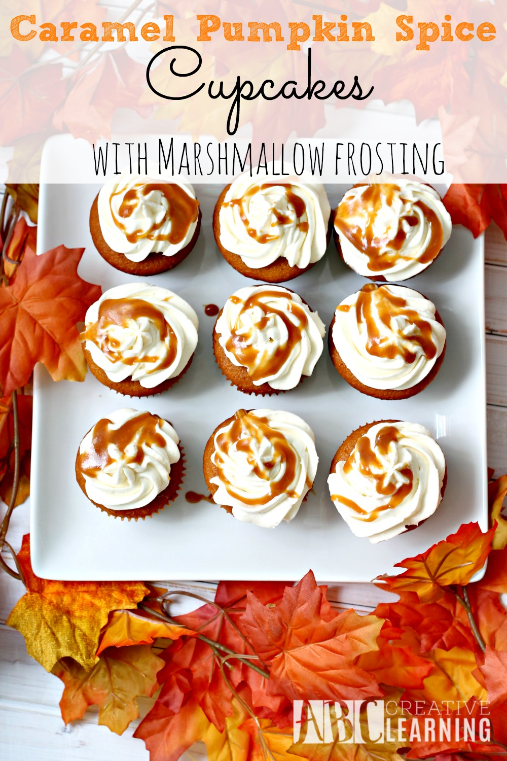 Caramel Pumpkin Spice Cupcakes with Marshmallow Frosting falls