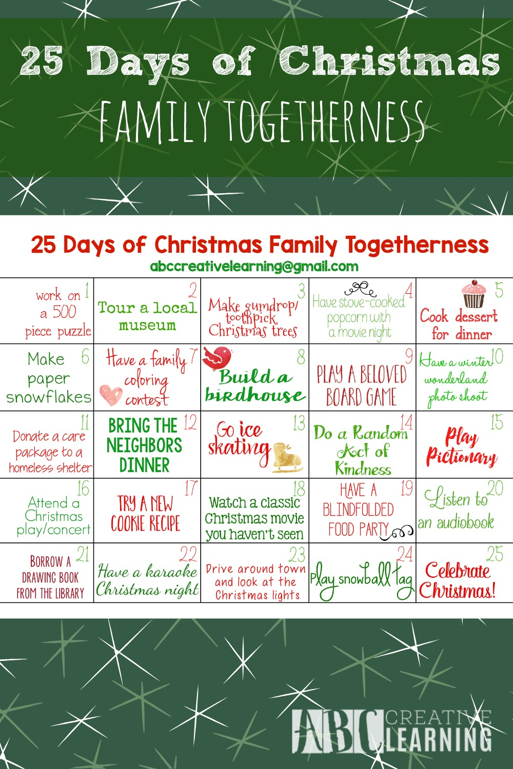 25 Days of Christmas Family Togetherness Calendar Activity 1
