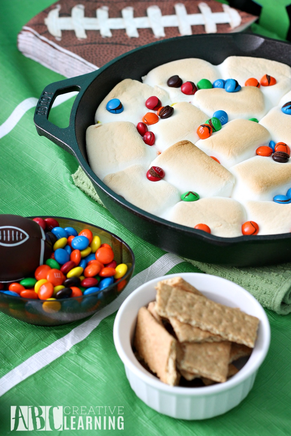Family Friendly Themed Football Party M&M's Smores
