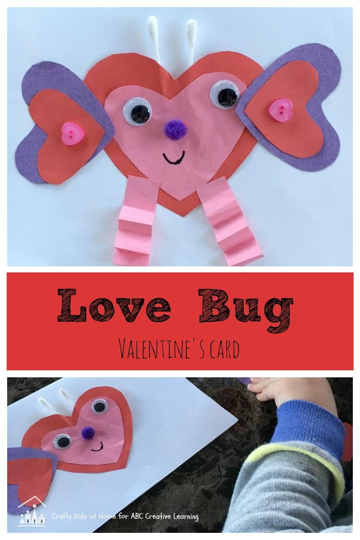 Kids Love Bug Valentine's Day Card Craft - simplytodaylife.com