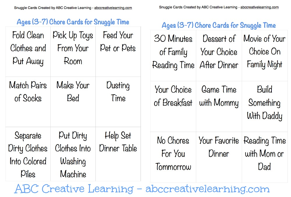 Ages (3-7) Chore Cards for Snuggle Time Pic