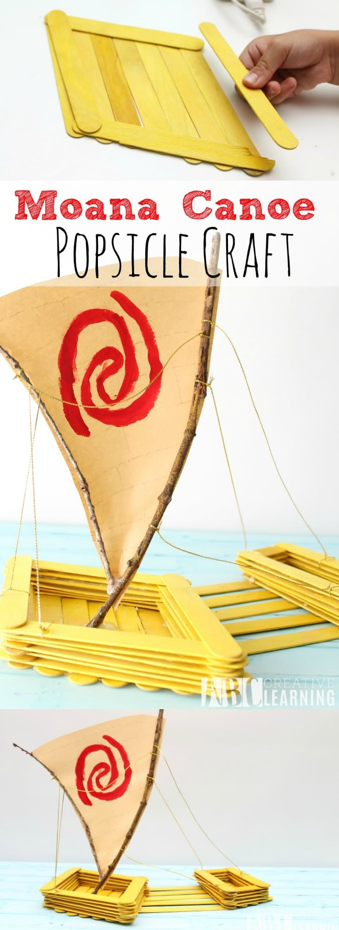 Moana Canoe Popsicle Craft