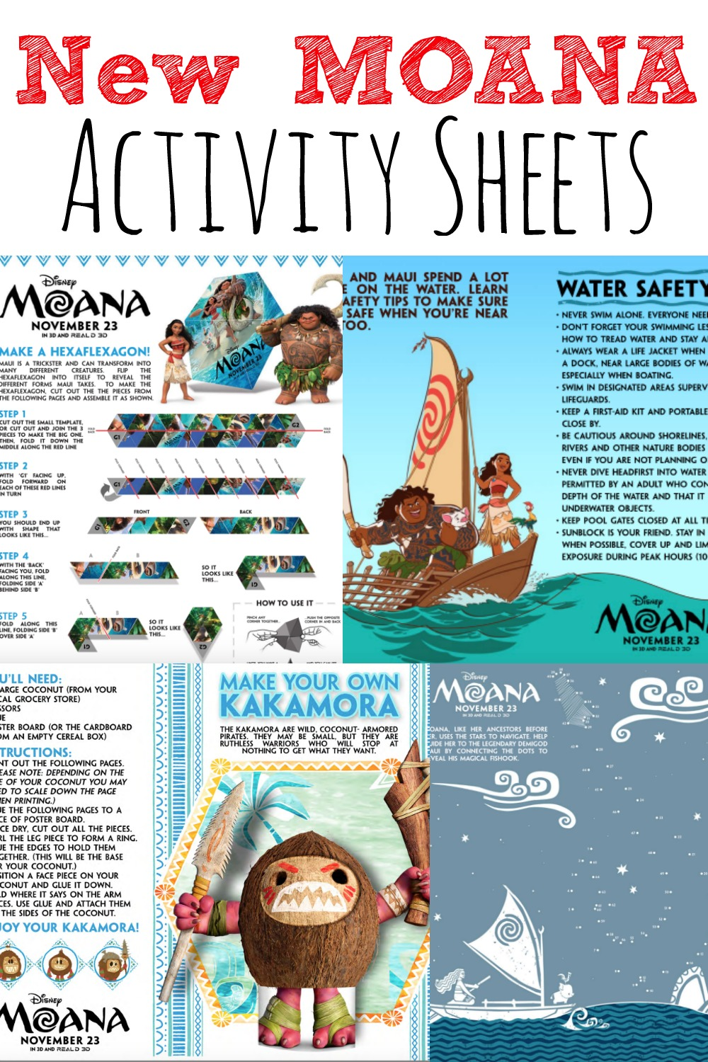 New Free MOANA Activity Sheets and Coloring Pages For Kids