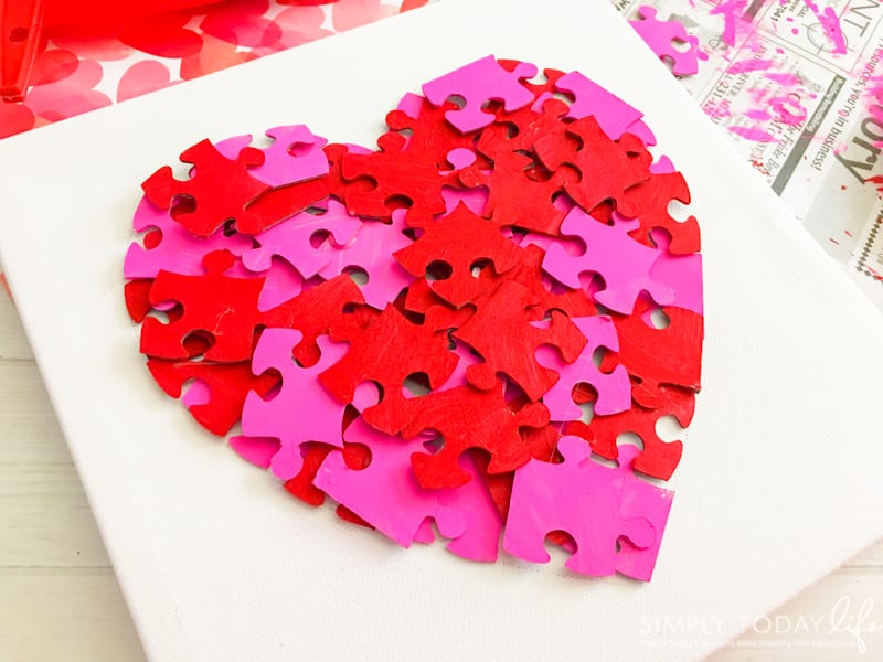 Valentine Day Puzzle Heart Canvas Craft For Kids