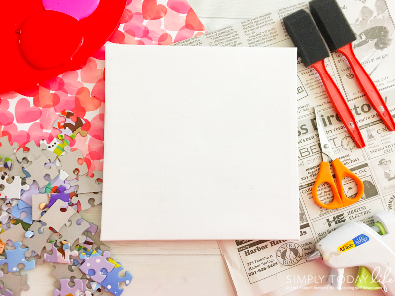 Valentine's Day Puzzle Heart Canvas Craft Materials
