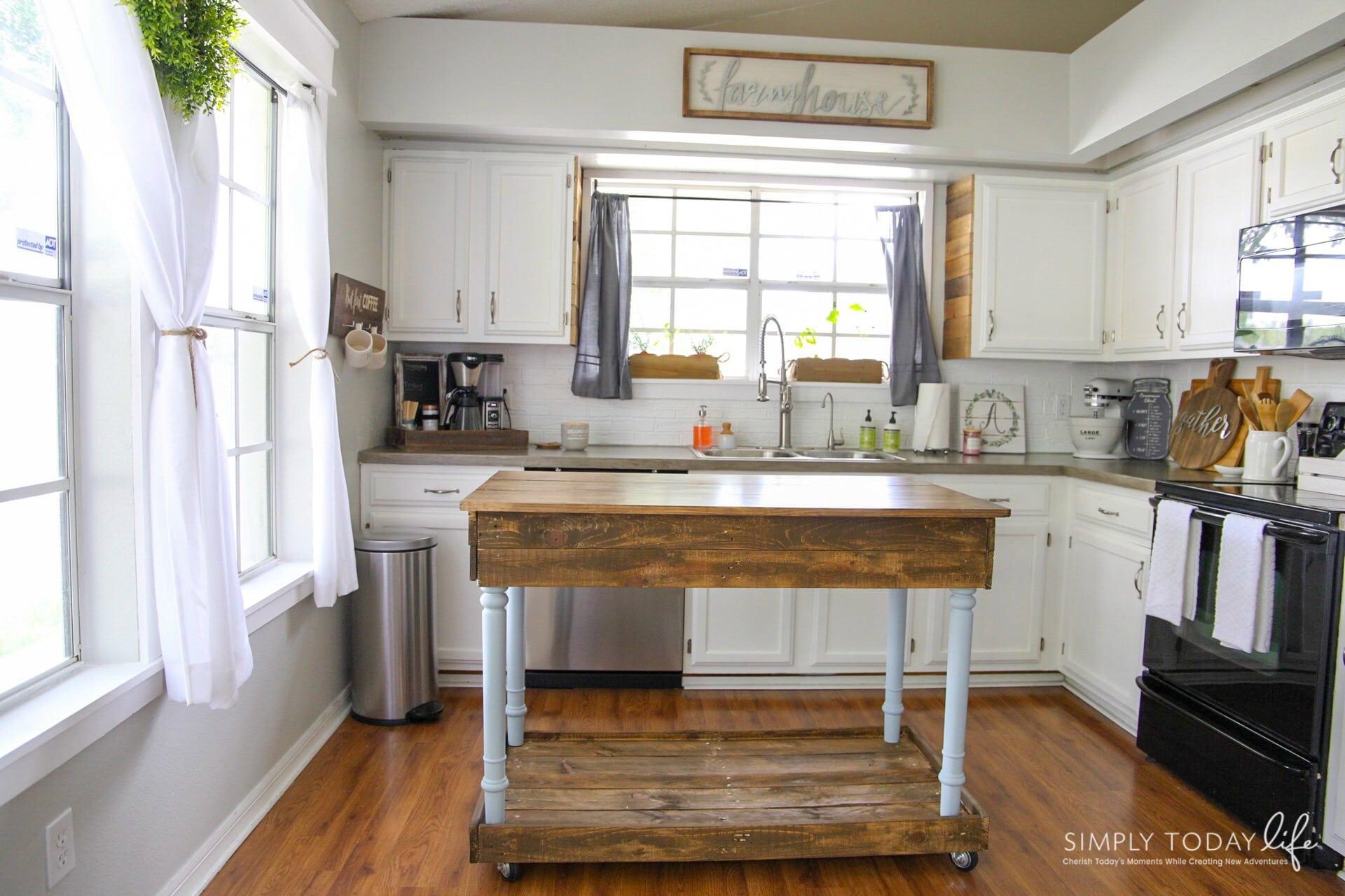 DIY Kitchen Island From Desk | Farmhouse Style
