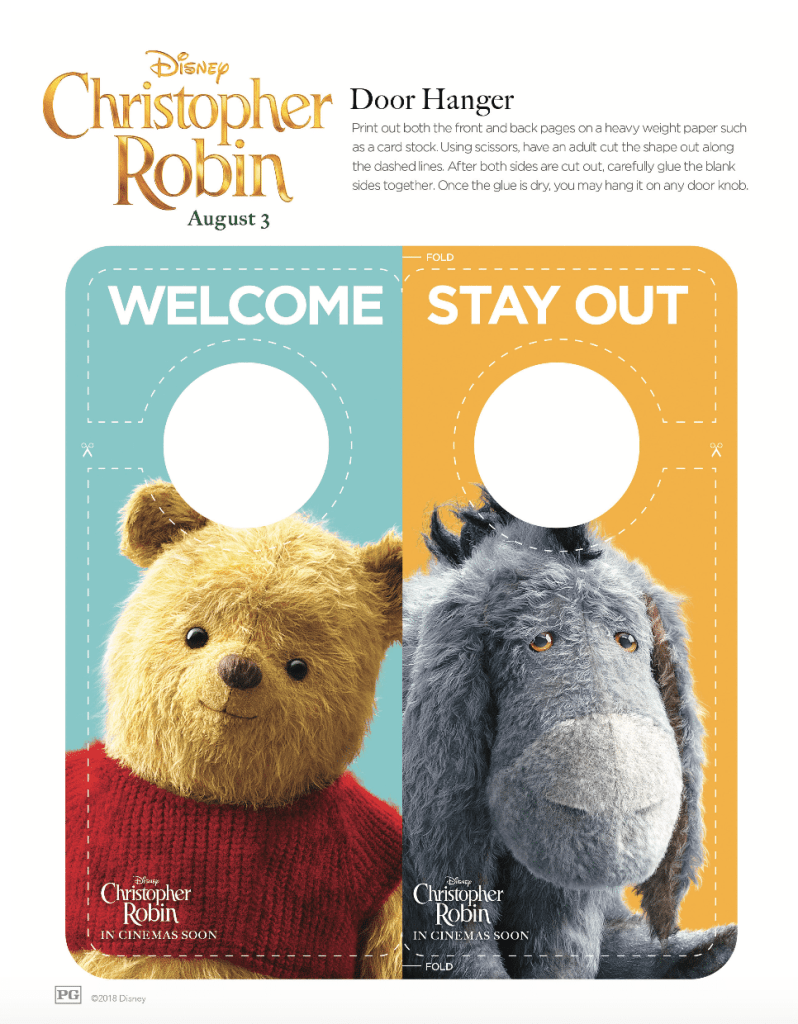Disney's Christopher Robin Door Hang Activity Page