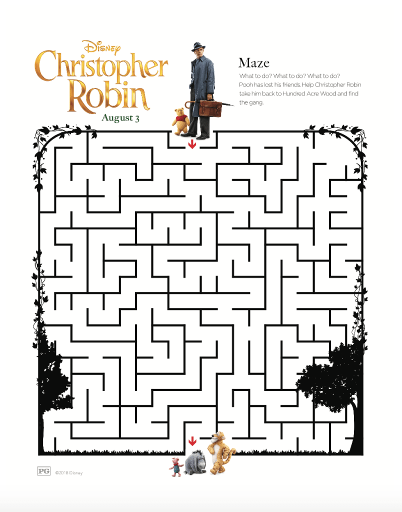 Disney's Christopher Robin Maze Activity Page