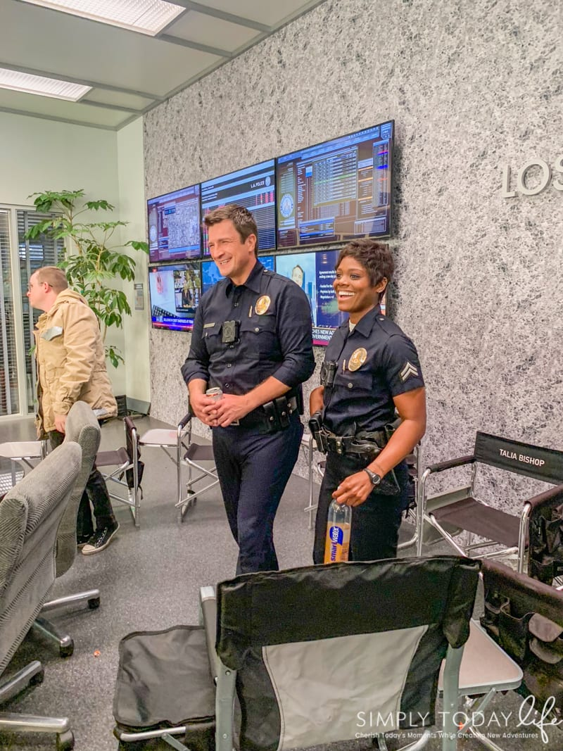Nathan Fillion and AFton Williamson on Set of The Rookie