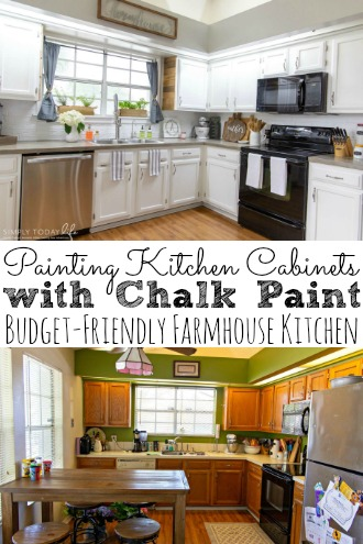 Painting Kitchen Cabinets with Chalk Paint Budget Friendly Farmhouse Kitchen Makeover