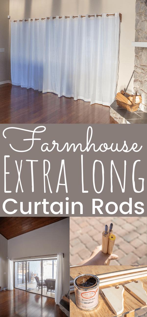 farmhouse diy extra long curtain rods