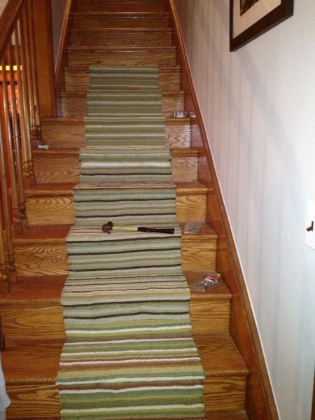 How To Install A Stair Runner   Simply Turquoise Stair Runner Fail