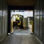cargo container and forklift