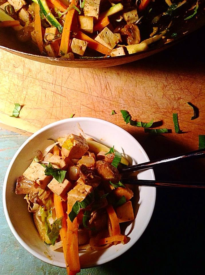 Sweet and spicy tahini tofu on rice noodles