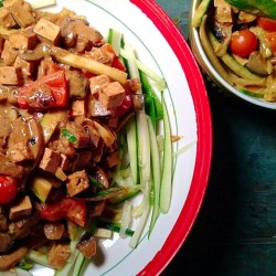 "Tofu and vegetable ""thai""curry on zucchini noodles"