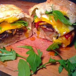 Egg, grilled veggies and white beans sandwich