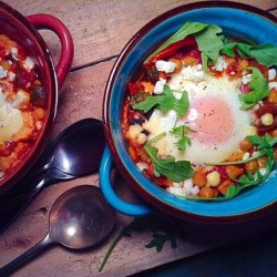 Spanish baked egg with chickpea and sweet potato