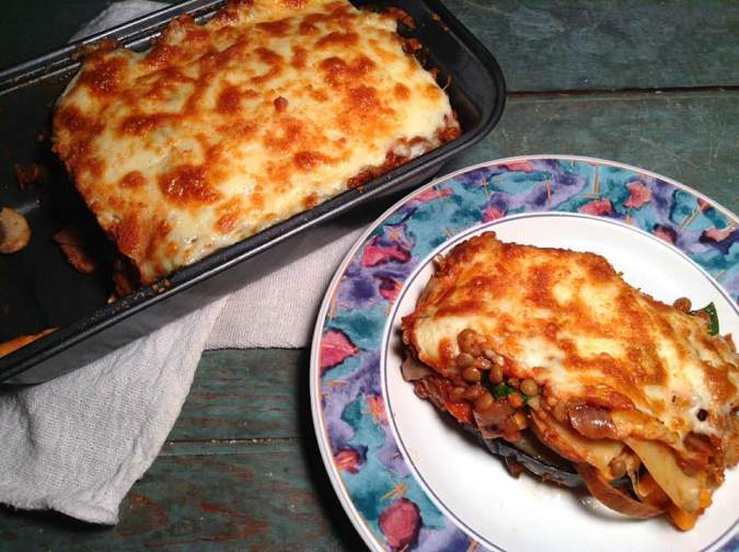 Grilled veggies and lentil lasagna