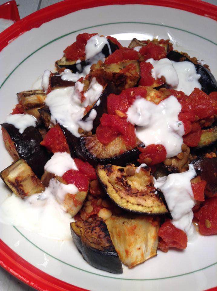 Afghani burani banjan  (Afghan eggplant and tomato with yogurt sauce)