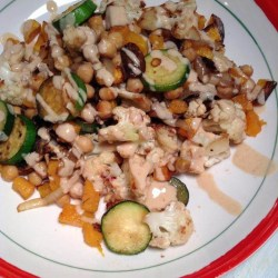 Roasted chickpeas and veggies with sweet peanut butter sauce
