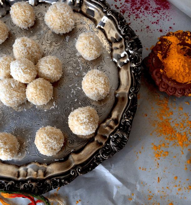 Nariyal Ladoo / Coconut Fudge - 2 Ingredients Recipe!
