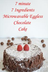 7 Ingredient Microwave Eggless Chocolate Cake