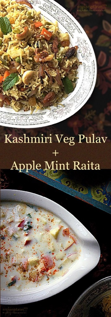 Kashmiri Mix Vegetables Pulav n' Apple Mint Raita