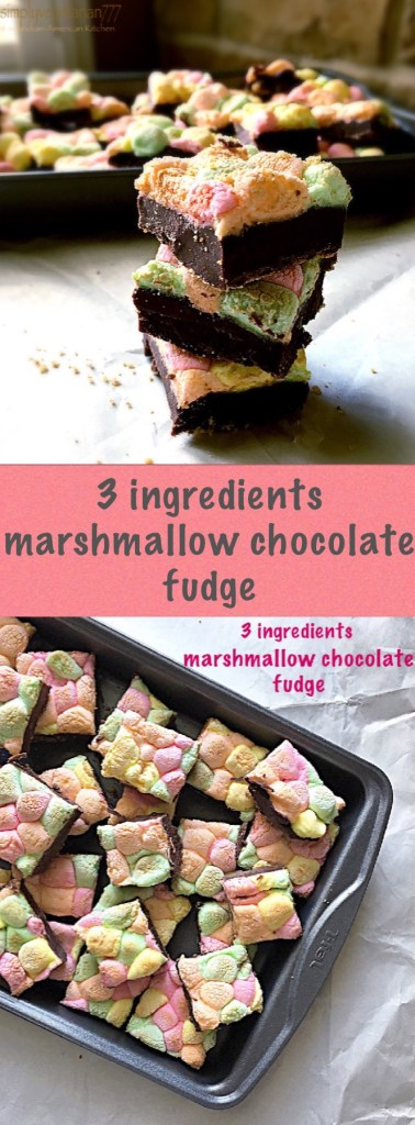 3 Ingredients Marshmallow Chocolate Fudge