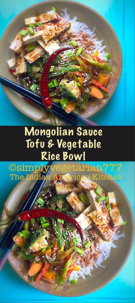 Mongolian Sauce Tofu Vegetable Rice Bowl