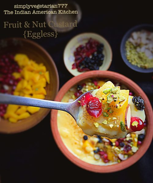 Fruit & Nuts Custard {Eggless}