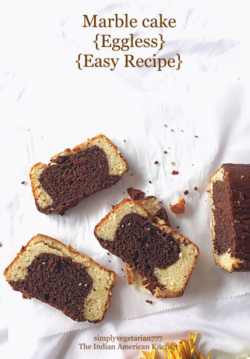 Eggless Marble Cake is a perfect cake to enjoy with family and friends. It is easy to bake with readily available ingredients. It is rich, super moist and soft. #marblecake #cake #egglesscakes #eggfreecake