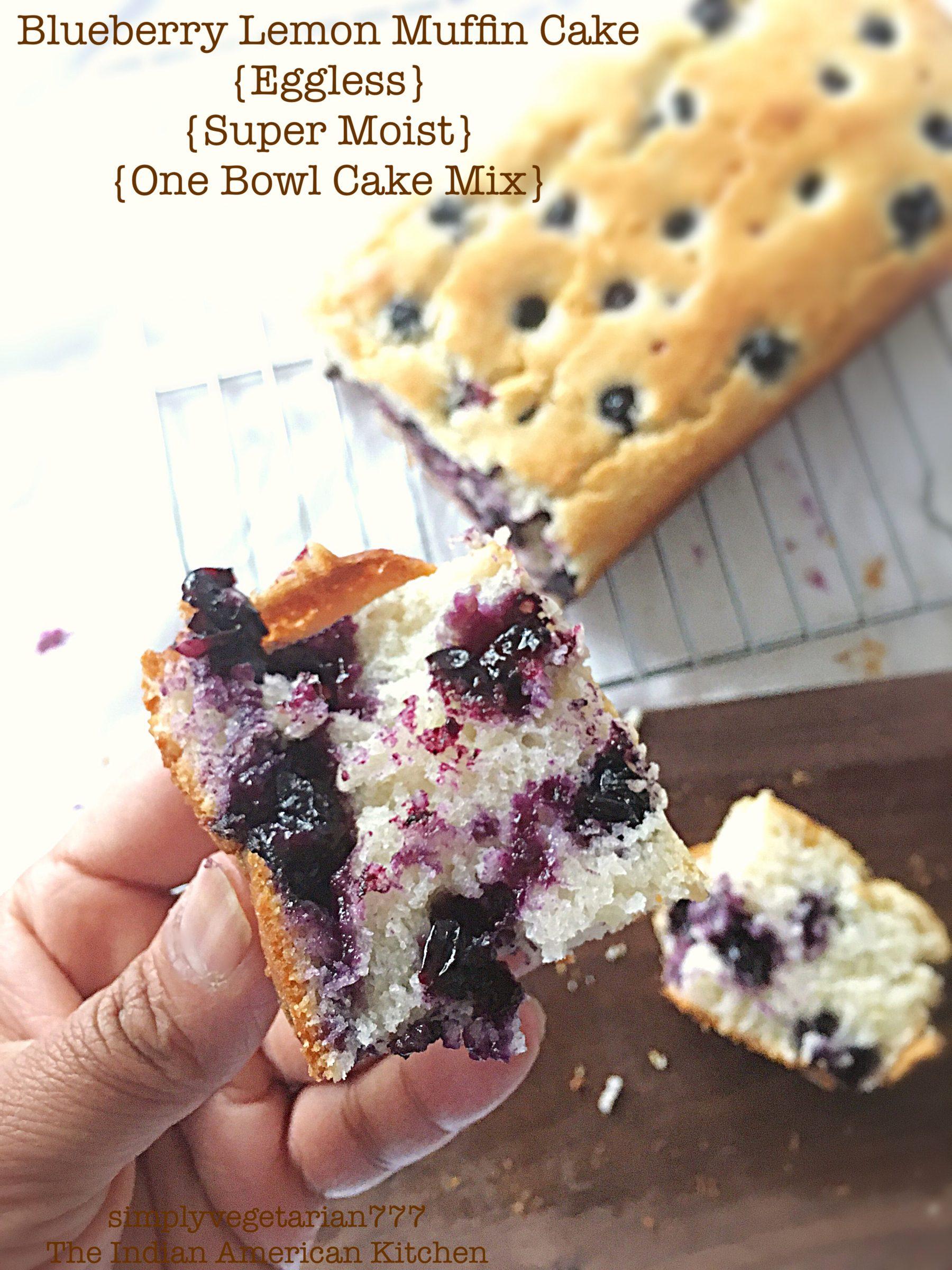 Blueberry Lemon Muffin Cake Eggless Super Moist One Bowl Cake