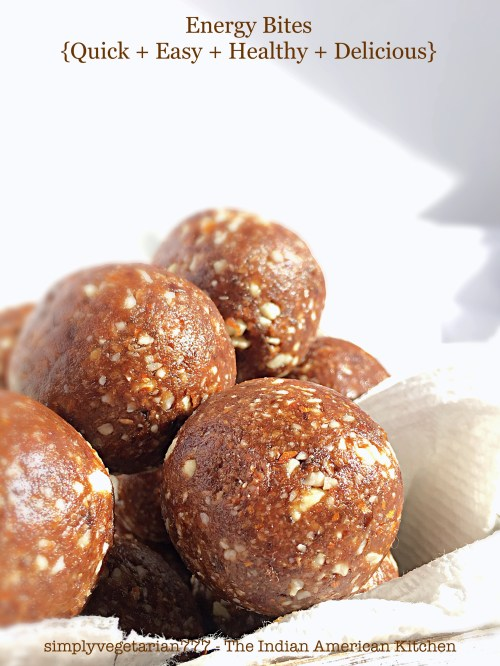 Chocolate Almond Dates Energy Bites are NO BAKE and EASY + QUICK to put together, in literally UNDER 5 MINUTES. Delicious Fudge like Balls make for perfect One Bite Snack on the go and are even great as a Guilt-Free Dessert. The best part is that these are Vegan + Gluten-free too. #vegansnack #glutenfreesnack #energybites #energyballs #nobakedessert #easydessert #chocolateenergybites #almondbites #datesenergybites #quicksnack